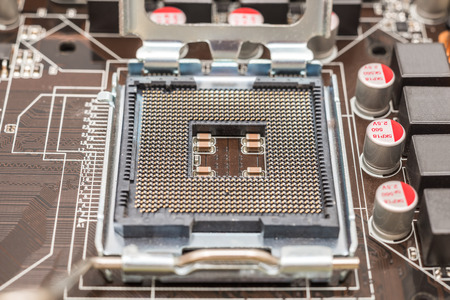 chipset: CPU Socket On Computer Motherboard Stock Photo