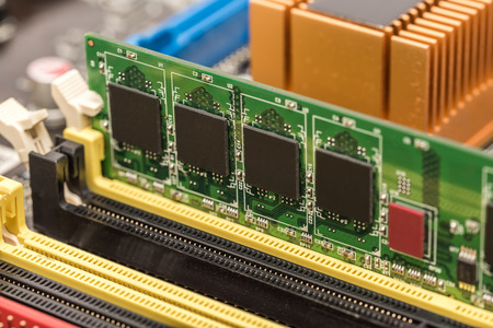 RAM Memory Module Installed On Computer Motherboard photo