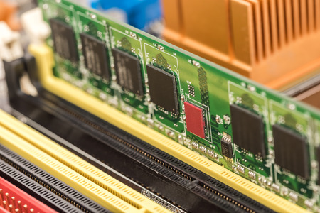 RAM Memory Module Installed On Computer Motherboard Stock Photo