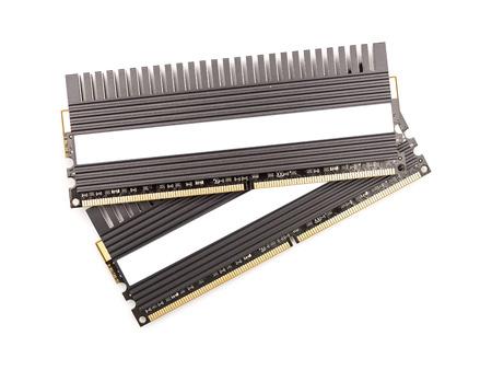 computer memory: RAM Computer Memory Chip Modules With Heatsink Isolated Stock Photo
