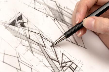 boceto: Papel Chica dibujo de la mano Crosshatch En Con Crayon Foto de archivo