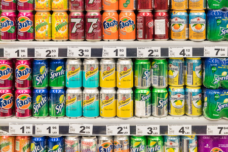 BUCHAREST, ROMANIA - FEBRUARY 22, 2015: Soda Drinks On Supermarket Stand. Redakční