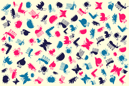 Retro Seamless Vector Pattern Of Colorful Cute Insects Vector