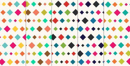 nostalgy: Retro Diamonds Seamless Abstract Pattern Collection Set Illustration