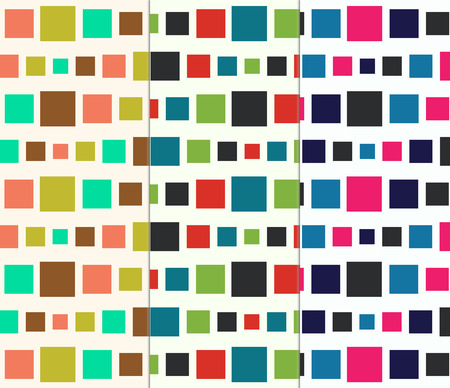 Retro Squares Seamless Abstract Pattern Collection Set Vector