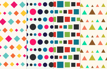 Retro Geometric Shapes Seamless Abstract Pattern Collection Set Vector