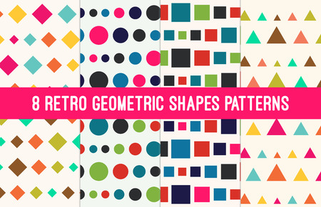 nostalgy: Retro Geometric Shapes Seamless Abstract Pattern Collection Set Illustration