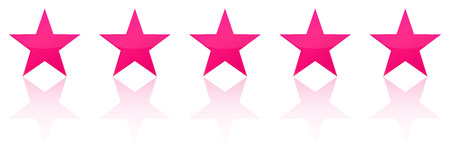 five star: Retro Pink Five Star Product Quality Rating Illustration