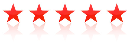 Retro Red Five Star Product Quality Rating Illustration