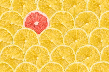 lemon slices: One Pink Grapefruit Slice Stand Out Of Yellow Lemon Slices