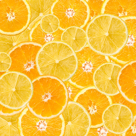 Orange And Lemon Slice Abstract Seamless Pattern Stok Fotoğraf