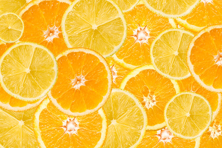 citruses: Orange And Lemon Slice Abstract Seamless Pattern Stock Photo