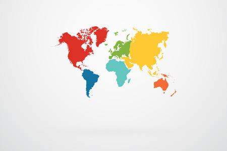Wereldkaart Vector Met Continent Border In Retro Kleurenpalet