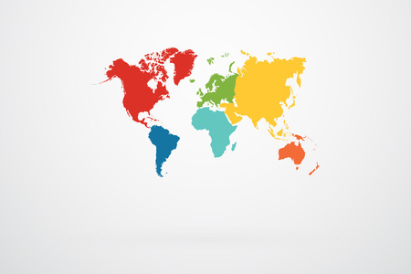 World Map Vector With Continent Border In Retro Color Palette
