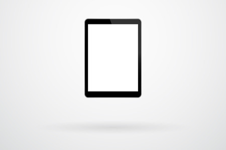 gadget: Black Tablet Gadget On Background With Shadow