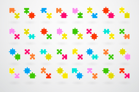 Jigsaw Puzzle Pieces Collection Set Vector Vector