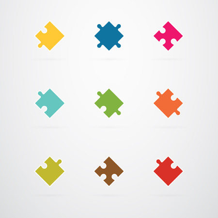 jigsaw pieces: Jigsaw Puzzle Pieces Collection Set Vector Illustration
