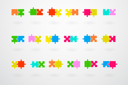 jigsaw set: Jigsaw Puzzle Pieces Collection Set Vector Illustration