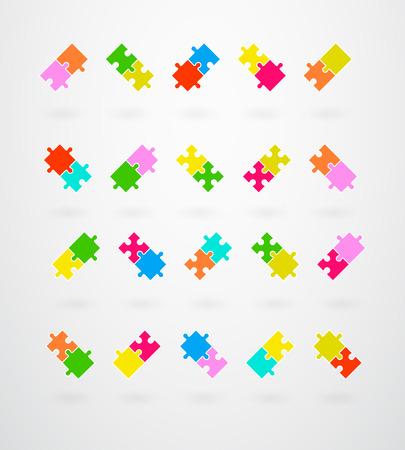 jigsaw puzzle pieces: Jigsaw Puzzle Pieces Collection Set Vector Illustration