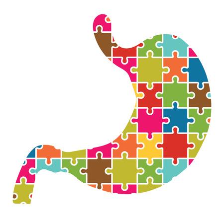 dolor de estomago: Estómago Jigsaw Puzzle Piezas abstracta Vectores