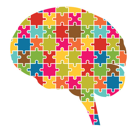 Human Brain Jigsaw Puzzle Pieces Abstract Vector