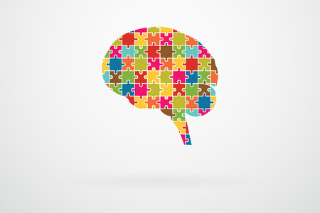 jigsaw puzzle pieces: Human Brain Jigsaw Puzzle Pieces Abstract Vector Illustration