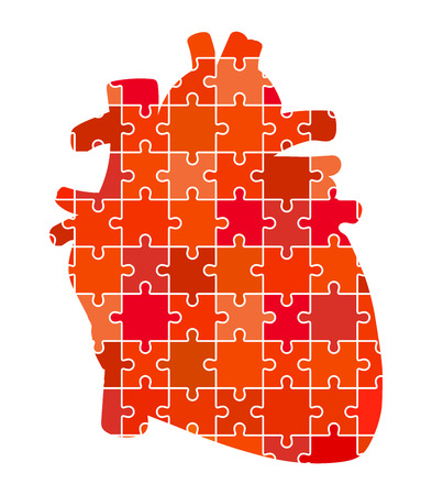 left ventricle: Human Heart Jigsaw Puzzle Pieces Abstract