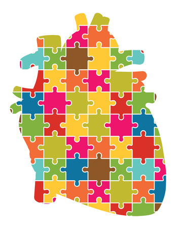 left atrium: Human Heart Jigsaw Puzzle Pieces Abstract Vector Illustration