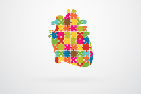 left ventricle: Human Heart Jigsaw Puzzle Pieces Abstract Vector Illustration
