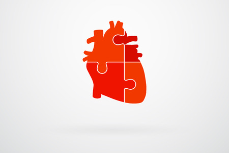 jigsaw puzzle pieces: Human Heart Jigsaw Puzzle Piezas abstracta Vector