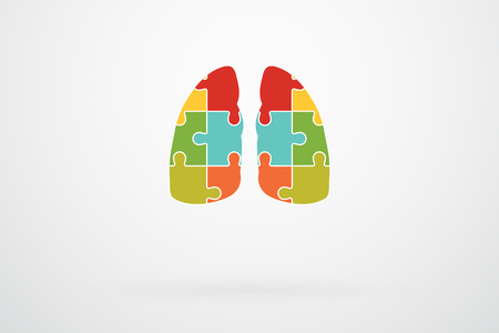 lung disease: Human Lungs Jigsaw Puzzle Pieces Abstract Vector Illustration