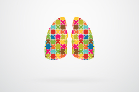 human lungs: Human Lungs Jigsaw Puzzle Pieces Abstract Vector Illustration