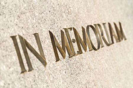 In Memoriam Words Inscribed In Marble Stone Monument Archivio Fotografico