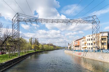cluj: CLUJ NAPOCA, ROMANIA - APRIL 13, 2015: Somes River View In Cluj Napoca City.