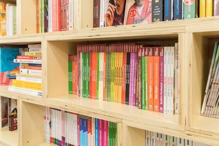 BUCHAREST, ROMANIA - APRIL 22, 2015: Food Cooking Books On Modern Bookstore Shelf.