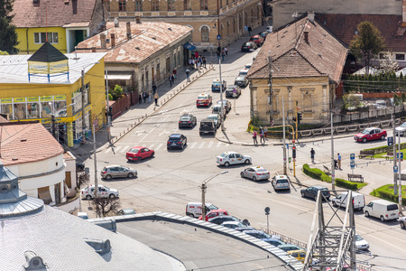 cluj: CLUJ NAPOCA, ROMANIA - APRIL 20, 2015: High View Of Cluj Napoca City the second most populous city in Romania and the seat of Cluj County in the northwestern part of the country. Editorial