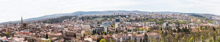 cluj: CLUJ NAPOCA, ROMANIA - APRIL 20, 2015: Panoramic High View Of Cluj Napoca City the second most populous city in Romania and the seat of Cluj County in the northwestern part of the country.