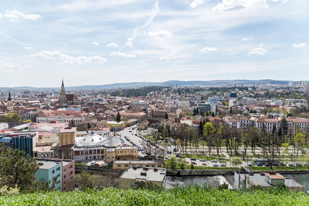 cluj: CLUJ NAPOCA, ROMANIA - APRIL 25, 2015: Panoramic High View Of Cluj Napoca City the second most populous city in Romania and the seat of Cluj County in the northwestern part of the country.