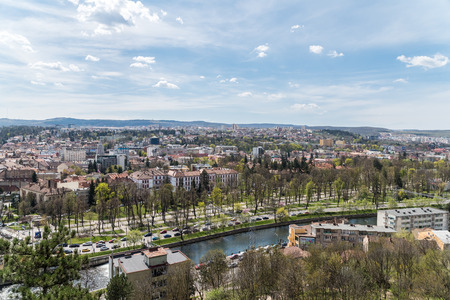napoca: CLUJ NAPOCA, ROMANIA - APRIL 25, 2015: Panoramic High View Of Cluj Napoca City the second most populous city in Romania and the seat of Cluj County in the northwestern part of the country.