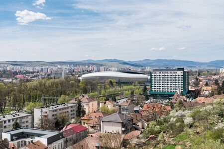 napoca: High View Of Cluj Napoca City Buildings And Stadium In Romania Editorial