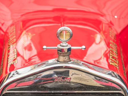 antique fire truck: BUCHAREST, ROMANIA - APRIL 25, 2015: Vintage 1922 Ford T Fire Truck.
