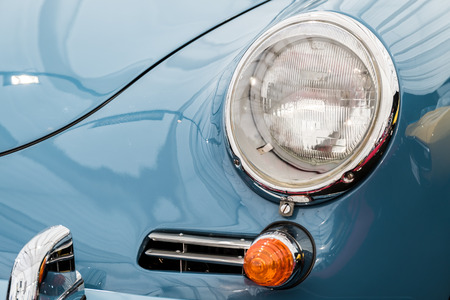 ferdinand: BUCHAREST, ROMANIA - APRIL 25, 2015: Old 1961 Porsche 356B Close Up. Ferdinand Porsche founded the company in 1931 with main offices in the centre of Stuttgart.