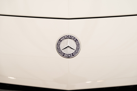 manufacturer: BUCHAREST, ROMANIA - APRIL 26, 2015: Founded in 1926 Mercedes Benz is a German luxury automobile manufacturer, a multinational division of the German manufacturer Daimler AG.
