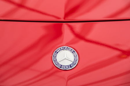 daimler: BUCHAREST, ROMANIA - APRIL 26, 2015: Founded in 1926 Mercedes Benz is a German luxury automobile manufacturer, a multinational division of the German manufacturer Daimler AG.