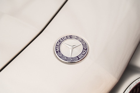 daimler: BUCHAREST ROMANIA  APRIL 26 2015: Founded in 1926 Mercedes Benz is a German luxury automobile manufacturer a multinational division of the German manufacturer Daimler AG.