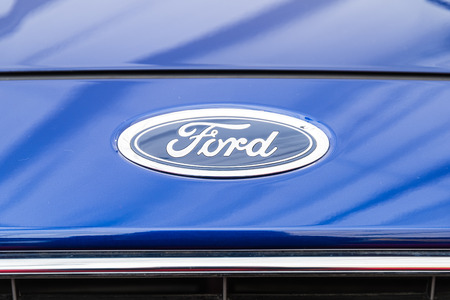 headquartered: BUCHAREST ROMANIA  APRIL 28 2015: Ford Motor Company is an American multinational automaker headquartered in Dearborn Michigan incorporated in 1903.