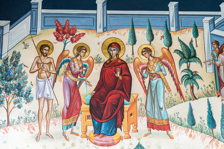 the orthodox church: BUCHAREST ROMANIA  MAY 05 2015: Biblical Scene Painting In The Orthodox Church Of The New Saint George. Editorial