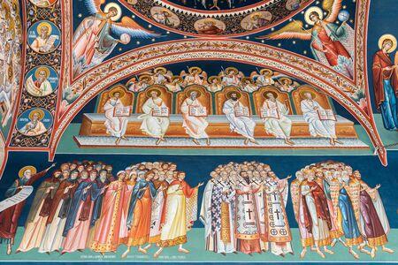 historias de la biblia: Bucarest Rumanía 07 de mayo 2015: Pintura de escena bíblica en la Iglesia Ortodoxa De La Nueva San Jorge.