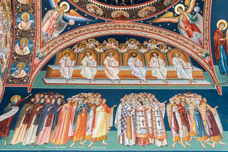 orthodox church: BUCHAREST  ROMANIA  MAY 07 2015: Biblical Scene Painting In The Orthodox Church Of The New Saint George.