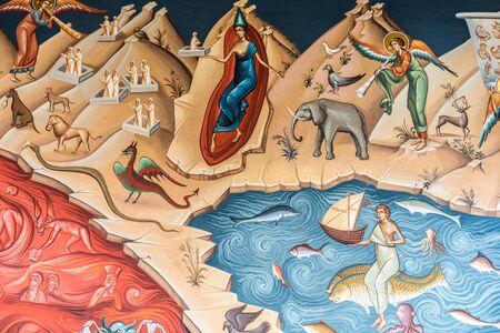 orthodox church: BUCHAREST  ROMANIA  MAY 10 2015: Heaven Versus Hell Biblical Scene Painting In The Orthodox Church Of The New Saint George.